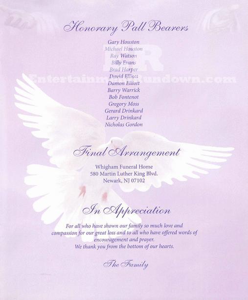 whitney houston u2019s funeral program